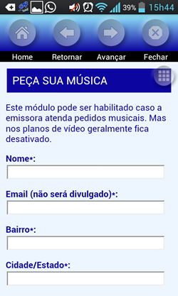 aplicativo vídeo audiobras - tela pedido musical