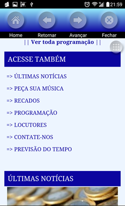 aplicativo vídeo audiobras - tela menu mais